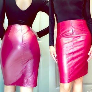 Merlot colored leather look midi Skirt
